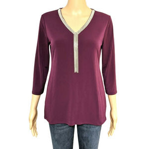 JM Collection Copper Touch 3/4 Sleeve Top PS NWT
